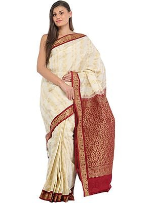 Ivory and Maroon Sari from Bangalore with Woven Golden Peacocks and Brocaded Pallu