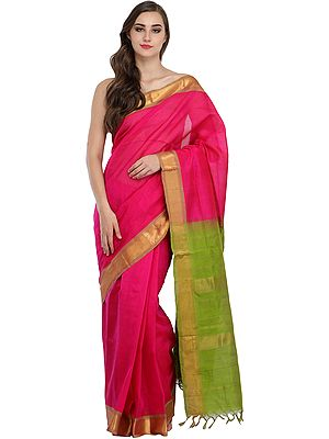 Pink and Green Solid Sari from Chennai with Woven Golden Border