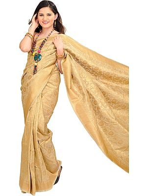 Pale-Khaki Sari from Banaras with Woven Golden Flowers All-Over
