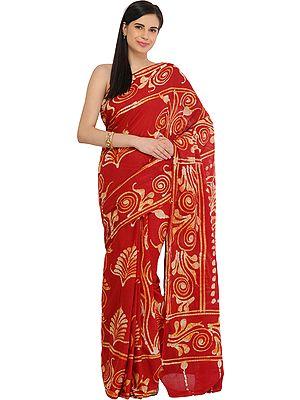 Cranberry-Red Batik Sari from Madhya Pradesh with Printed Motifs