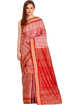 Ash-Rose and Red Bomkai Handloom Sari from Sambhalpur with Ikat Weave