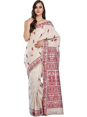 Dusty-White and Red Baluchari Sari from Kolkata Depicting Hindu Mythological Episodes