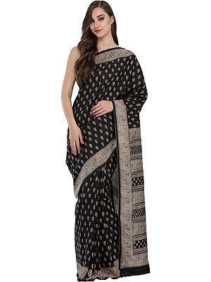 Jet-Black Sari from Madhya Pradesh with Kalamkari Print