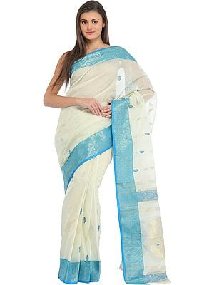 Ivory and Cyan Purbasthali Sari from Bengal with Woven Bootis and Brocaded Border