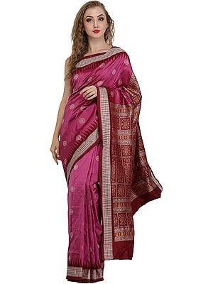 Dahlia-Mauve Handloom Sari from Orissa with Bomkai Weave