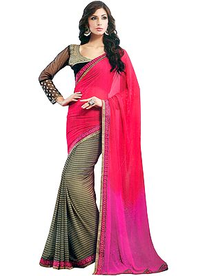 Tri-Colored Half and Half Printed Sari with Patch Border and Embroidered Blouse
