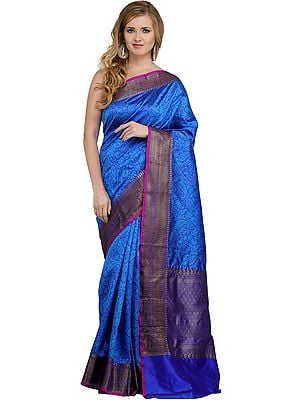 Amparo-Blue Banarasi Handloom Sari with Woven Paisleys All-Over