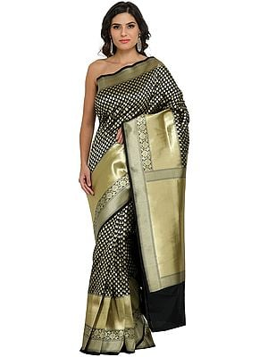 Banarasi Traditional Sari with Woven Bootis and Brocaded Pallu