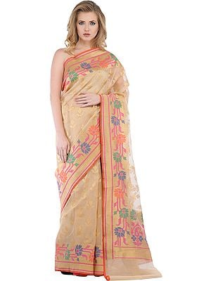 Golden Wedding Sari from Banaras with Woven Flowers
