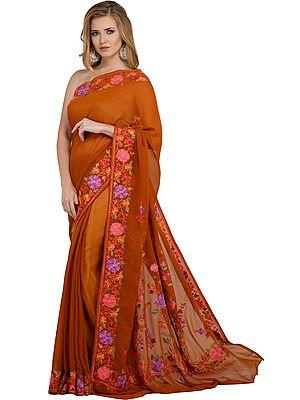 Hazel-Brown Kashmiri Sari with Ari-Embroidered Flowers