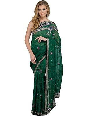 Verdant-Green Wedding Sari with Embroidered Beads and Stone-work