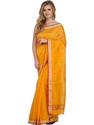 Marigold Chanderi Sari with Woven Golden Border and Flowers on Pallu