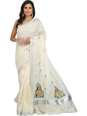 Ivory Kasavu Tissue Sari from Kerala with Embroidered Krishna on Pallu and Sequins