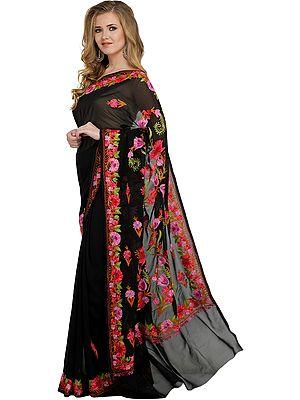 Jet-Black Kashmir Sari with Ari-Embroidered Flowers