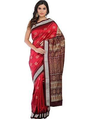 Red and Chocolate Handloom Bomkai Sari from Orissa with Woven Bootis and Dense Weave on Pallu