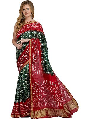 Green and Red Bandhani Tie-Dye Gharchola Sari from Jodhpur