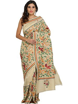 Antique-White Sari from Kolkata with Kantha Hand-Embroidered Birds and Foliage
