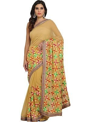 New-Wheat Phulkari Sari from Punjab with Embroidered Flowers and Gota Border