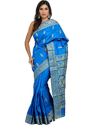 French Blue Baluchari Sari with Hand-Woven Dancing Apsaras on Aanchal