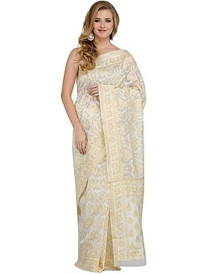 Off-White and Golden Net Sari from Banaras with Woven Flowers
