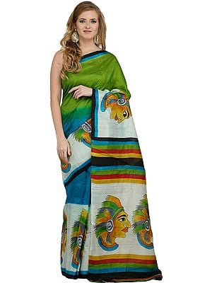 Multicolored Sari from Kolkata with Printed Red-Indian
