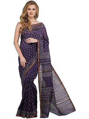 Purple-Reign Chanderi Sari with Block-Printed Bootis