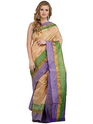 Beige Banarasi Sari with Woven Bootis All-Over