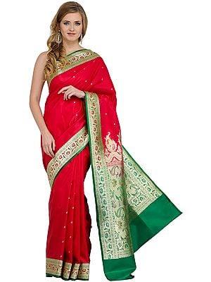 Rose-Red Valkalam Banarasi Sari with Golden Bootis and Brocaded Anchal