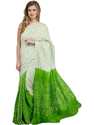 Green-Flash Shaded Bandhani Tie-Dye Gajji Silk Sari from Rajasthan