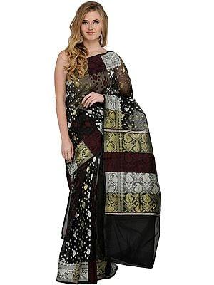 Phantom-Black Tangail Sari from Bangladesh with Woven Paiselys and Bootis All Over