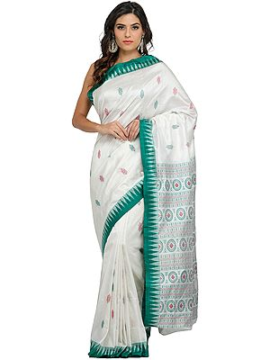 Ivory and Green Bomkai Sari from Orissa with Hand-woven Chakras on Pallu