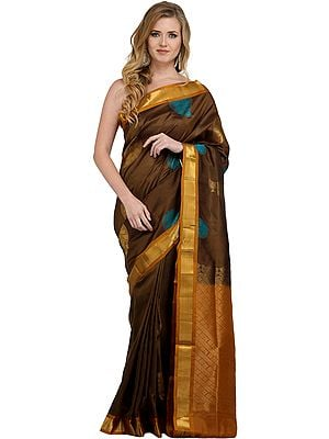 Chive Green Sari from Banaras with Woven Booties and Golden Border