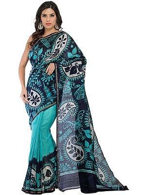 Marine-Green Batik Sari from Madhya Pradesh