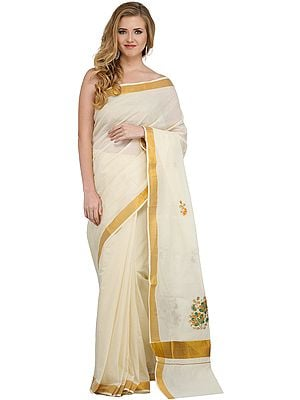 Ivory Kasavu Sari from Kerala with Embroidered Flowers and Golden Border