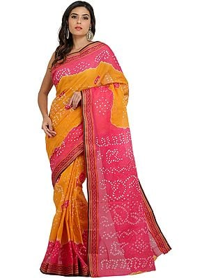 Pink and Yellow Shaded Bandhani Tie-Dye Sari from Rajasthan with Woven Border