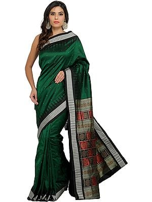 Evergreen Bomkai Sari from Orissa with Woven Booties and Rudraksha Border