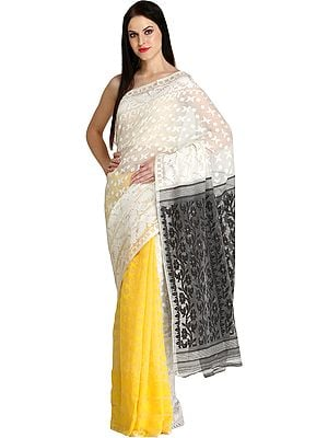 Aspen-Gold and White Jamdani Sari from Kolkata with Woven Bootis
