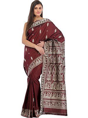 Windsor-Wine Baluchari Sari from Bengal Depicting Mythological Episodes