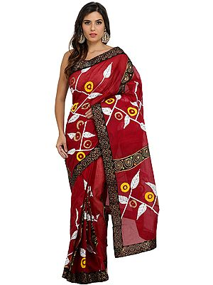 Ruby-Wine Batik Sari from Madhya Pradesh with Painted Border