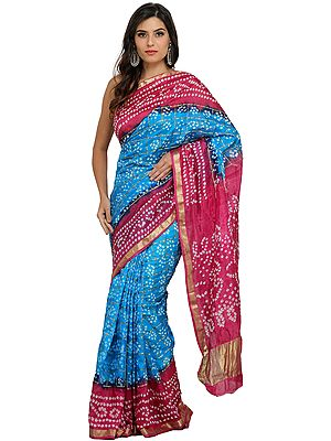 Pink and Blue Shaded Bandhani Gharchola Sari from Rajasthan with Gota Border