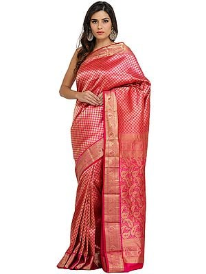 Magenta-Pink Traditional Brocaded Sari from Bangalore with Woven Bootis and Paiselys