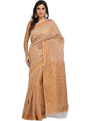 Ivory and Golden-Nugget Handloom Milmul Sari from Bangladesh with Woven Florals All Over