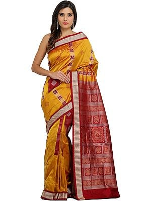 Golden-Nugget and Maroon Bomkai Sari from Orissa with Woven Bootis and Box Pallu