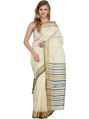 Ivory and Deep-Sea Garad Sari from Bengal with Woven Paisleys and Bootis