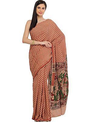 Apricot-Ice Kalamkari Hand-Painted Sari with Krishna Playing Flute and Village Folk