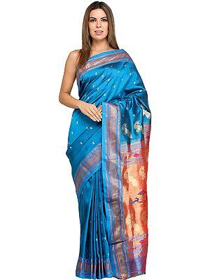 Diva-Blue Paithani Handloom Sari with Woven Bootis and Peacocks