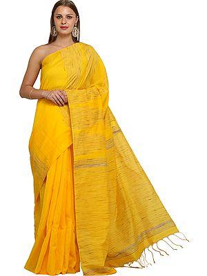 Lemon-Chrome Purbasthali Sari from Bengal with Jute Weave