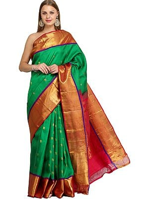 Jelly-Bean and Pink Bangalore Silk Sari with Woven Bootis and Brocaded Pallu