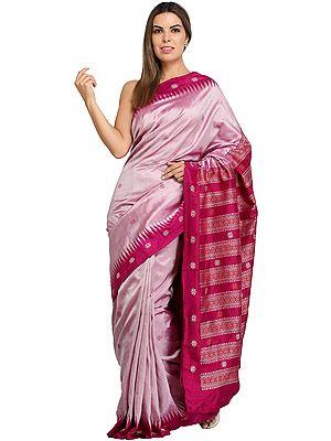 Dahlia-Mauve Handloom Bomkai Sari from Orissa with Temple Border and Bootis Woven All-Over