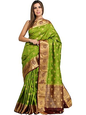 Herbal-Green Traditional Brocaded Sari from Bangalore with Woven Bootis and Peacocks